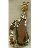 Gold Sheen Obsidian Gold Wire Wrap Pendant 13 - $65.60
