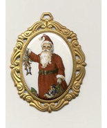 Victorian Christmas Santa Pendant Porcelain  Co... - $6.00