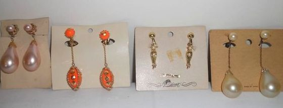 Lot of 4 Pairs of Vintage Dangle Earrings Funky