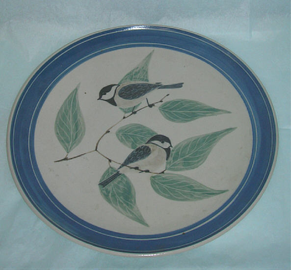 Chickadee Pottery Plate ~  Hand Made -  Black Capped Chickadee - NICE