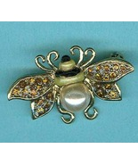 Liz Claiborne Bumblebee Pin Gold Pave Topaz Rhi... - $9.99