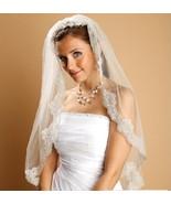 MARIELL IVORY BRIDAL BEADED MANTILLA WEDDING VEIL! - $99.99