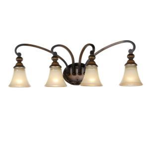 hampton bay caffe patina 4 light vanity fixture lighting fixtures. Black Bedroom Furniture Sets. Home Design Ideas
