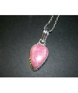 Natural Rhodochrosite Pendant Necklace 925 Soli... - $12.00