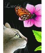 Art print 5x7 Cat 410 butterfly, painting by Lu... - $9.99