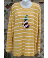 2X Sag Harbor Lighthouse Sweater Yellow Stripe New - $11.99