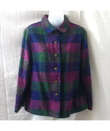 Allison Daley jacket in green, blue and burgundy - $10.00