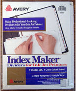 NEW Avery Index Maker 8 White Dividers & Tabs w... - $8.99