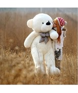 White (80 CM)-new giant adorable furry teddy bear soft cotton 100% toys
