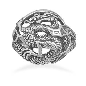 Brand New Genuine .925 Sterling Silver Dragon Ring With Oxidized Finish