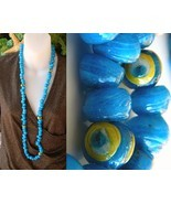 Vintage Glass Wound Beads Strand Necklace Blue ... - $84.95