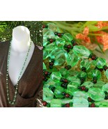 Vintage Glass Faceted Bead Necklace Green Red G... - $42.95