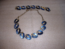Vintage Lisner Signed Necklace Lucite Blue with... - $25.00