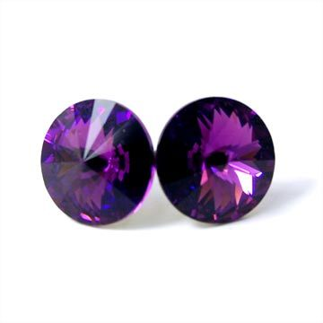 Purple Swarovski Crystal Bridesmaid Stud Earrings