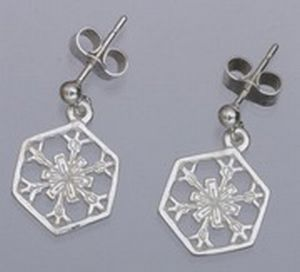 Snowflake Circular Design Drop Sterling Silver Earrings