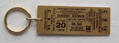 DAVID BOWIE SANTA MONICA TICKET PROMO KEYCHAIN *RARE*