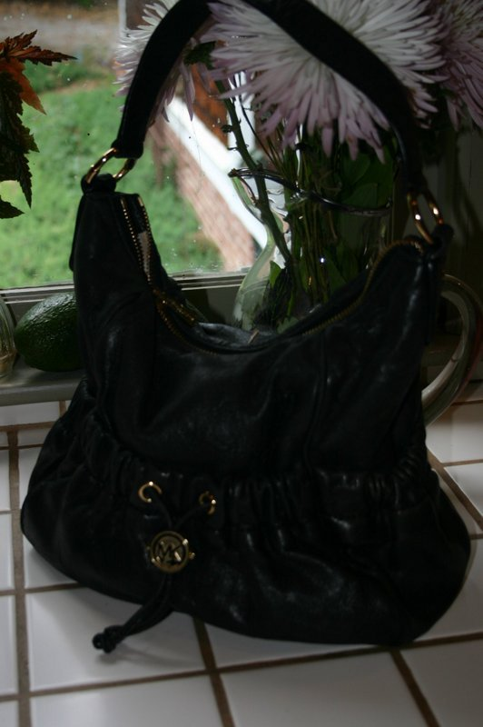 Michael By Michael Kors Black Leather Bag with Outside Pockets Gold Trim