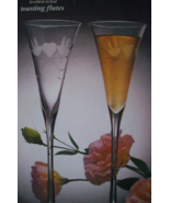 LAURA GLASS LOVEBIRD ETCHED TOASTING FLUTES - $15.00
