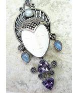 Hand Carved Bali Goddess + Blue Flash Moonstone... - $169.92