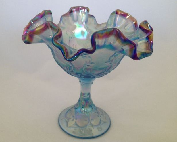 Fenton Art Glass Spanish Lace Misty Blue Comport w/ Plum Crest