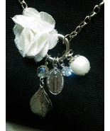 Chiffon Pearl Necklace Pendant WHITE Vintage Style - $16.99
