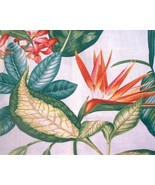 Stunning Barkcloth Tropical Hibiscus Bird of Pa... - $12.00