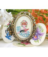 Vintage Embroidered Oval Picture Frame Brooch P... - $24.95