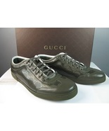 $465 GUCCI GG PLUS LOGO COATED GREEN LEATHER CANVAS SNEAKER SHOES 10.5D Preowned - $285.00
