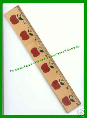 School Decorative 12 Inch Ruler with 6 stenciled Apples