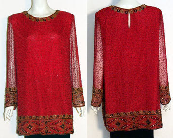 Vintage Kazar 80s Beaded Sequins Tunic Top from bonanza.com