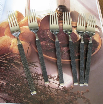 .VINTAGE STAINLESS Small Dessert FORKS SET OF 6 by GORHAM fr
