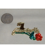 Goldtone #1 Grandmother and Red Rose Brooch Pin - $9.95