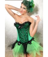 Sexy Emerald Green and Black Satin Floral Vines... - $31.99