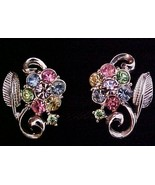 Coro Pastel Multi-Color Flower & Leaf Earrings ... - $8.50