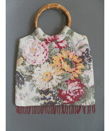 BAMBOO round PURSE handle FLORAL cream 100% cot... - $10.00