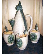 RARE Sculpture/Ceramic Pitcher & Mugs by Ernest... - $175.00