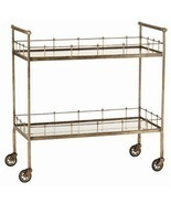 ANTIQUE BRASS & MIRROR BAR CART on Wheels, 2 Mi... - $1,199.00