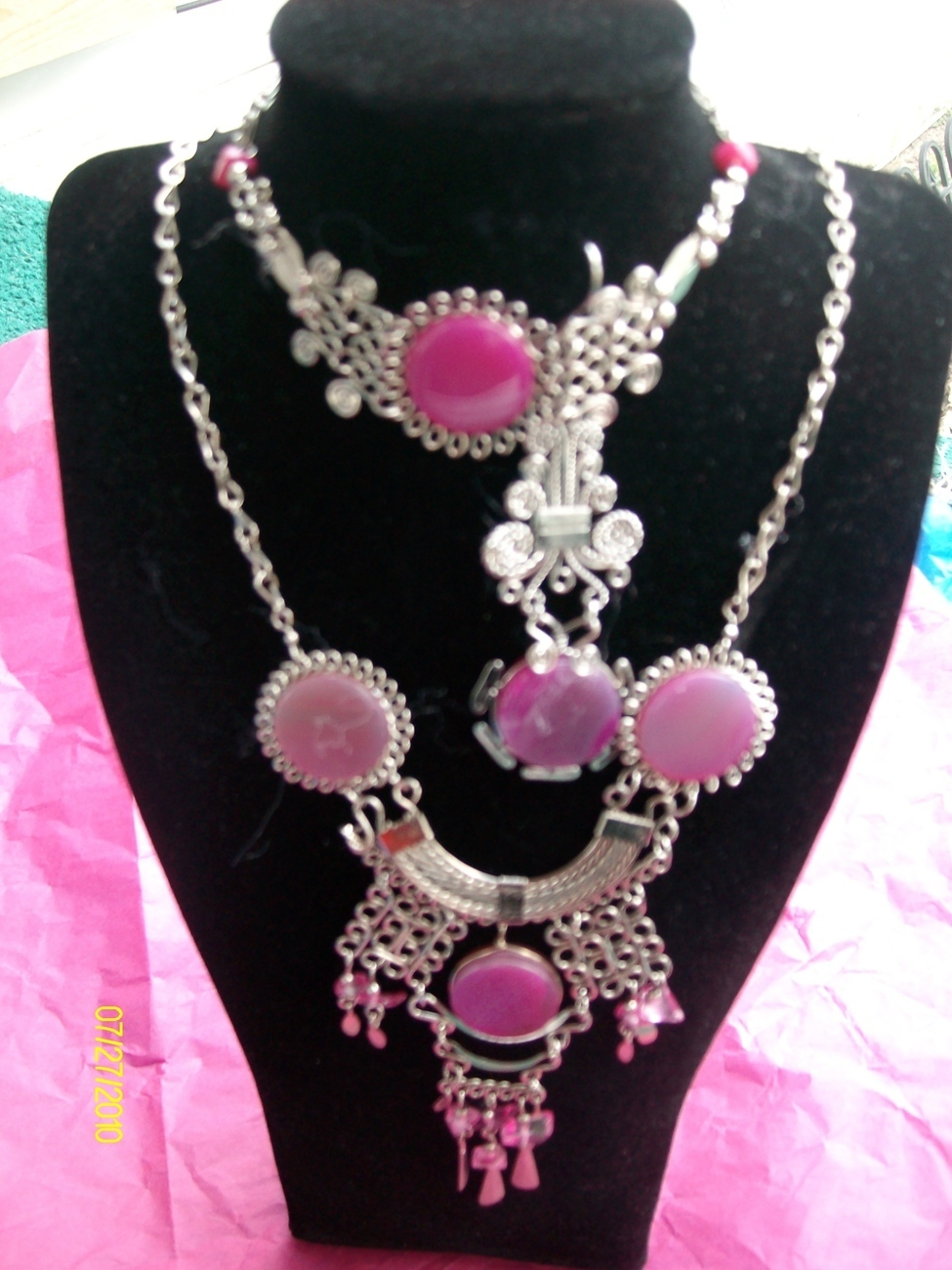 Purplish, 3 Pc Alpaca Necklace and Earring  w Bracelet   (R-14)