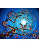Gray Tabby Cats Blue Moon Autumn Tree Branch Ze... - $699.00