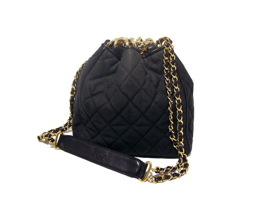 Chanel Vintage Black Quilted Canvas Bucket Bag