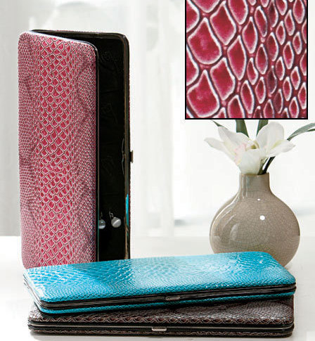 Snakeskin Skinny Jewelry Cases  Fuchsia