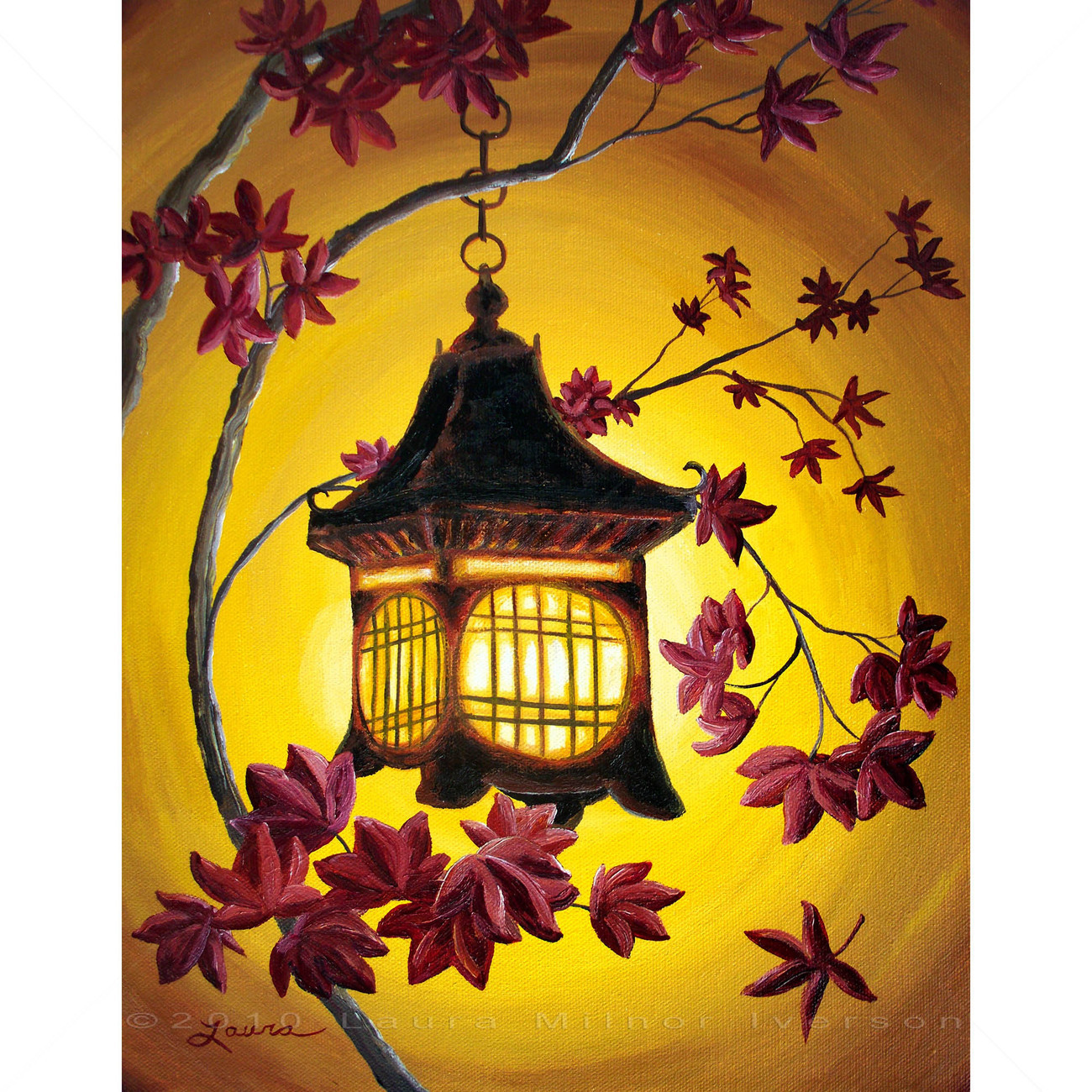 Japanese Iron Lantern Burgundy Autumn Leaves Yellow Painting