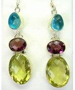 Faceted Amethyst + Lemon Topaz + Blue Topaz Ste... - $95.04
