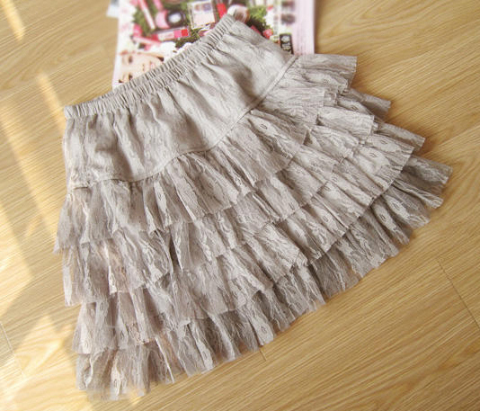 4 Tiers Gray Lace Smocked Ruffle Flirty Mini Skirt