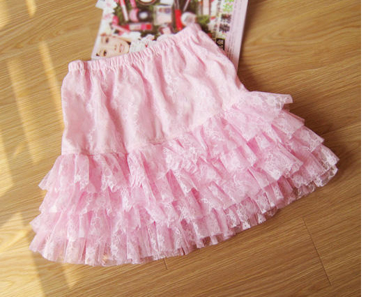 4 Tiers Pink Lace Smocked Ruffle Flirty Mini Skirt
