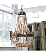 WOODEN BEADS, 8 Light Iron Chandelier, Shabby F... - $1,499.00