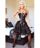 Classy Black Satin Corset with Light Pink Bows ... - $31.99