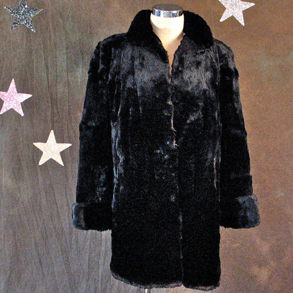 1940's Real Black Seal Fur Coat with Cuff Sleeves, Label, Richer's Furs