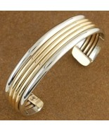 Native American Therapeutic Silver Gold Cuff Br... - $99.97