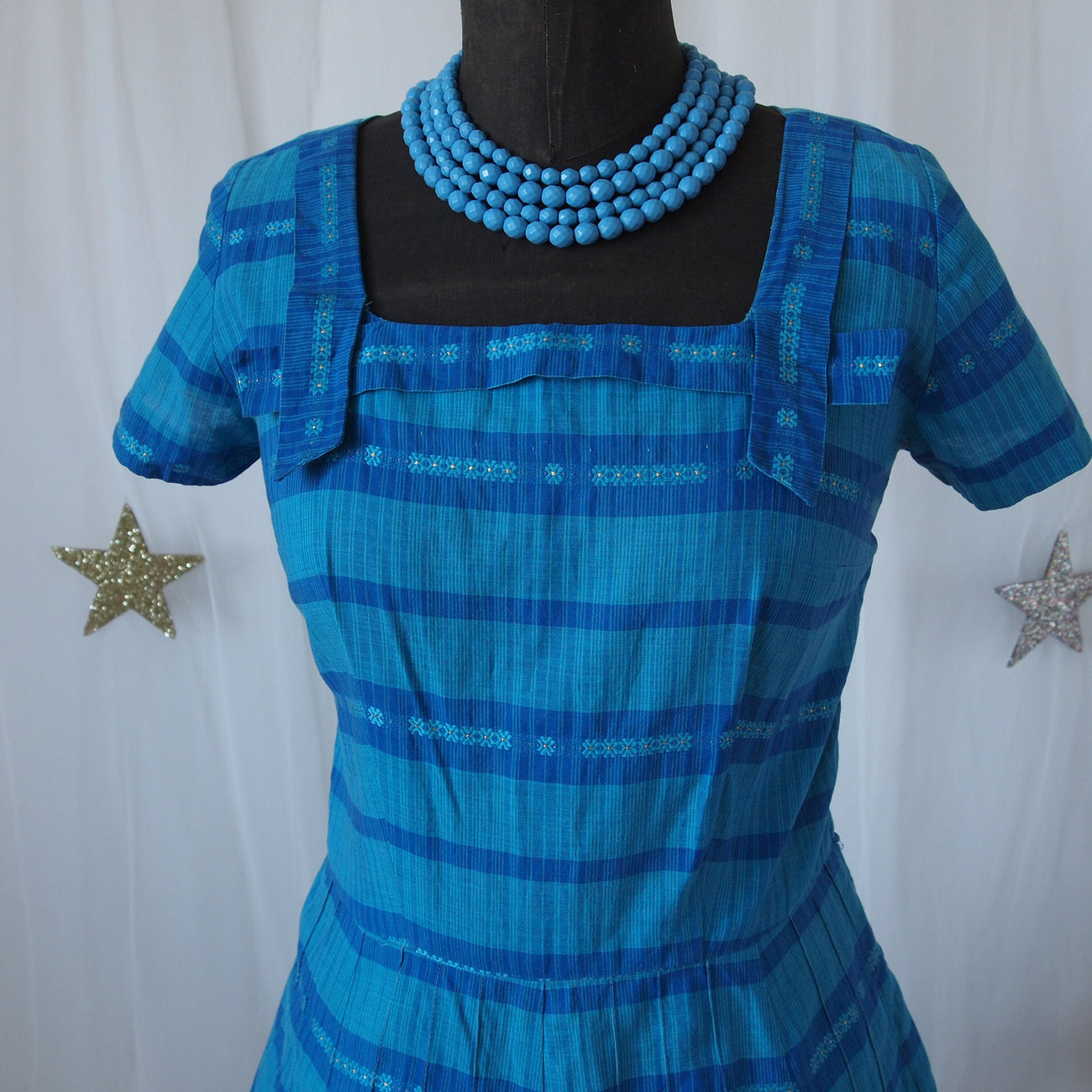 50's Aqua and Royal Blue Cotton Madras Stripe Dress
